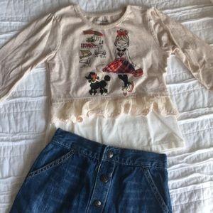 Top and denim skirt